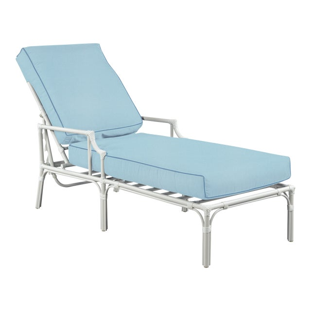 Haven Outdoor Chaise, Mineral Blue and Sapphire For Sale