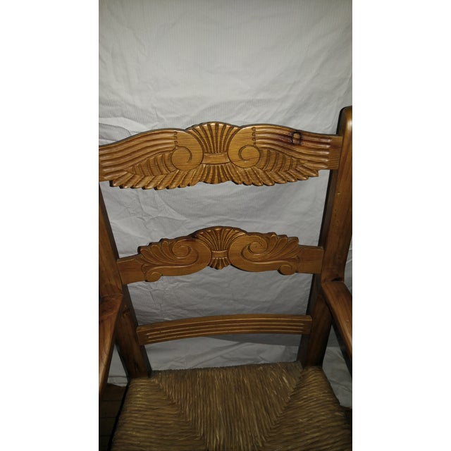 1970s French Country Hand Carved Rush Seat Chairs - Set of 4 For Sale In Los Angeles - Image 6 of 13