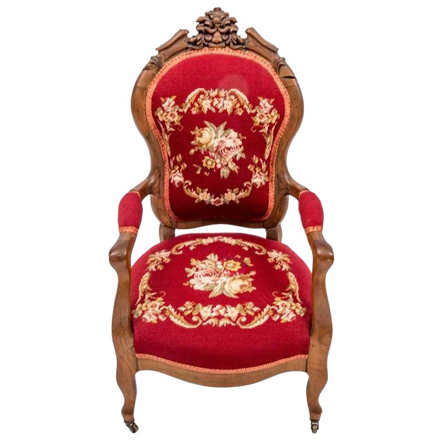 Childs Victorian Needlepoint Upholstered Armchair For Sale