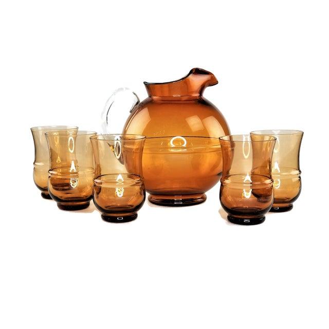 Mid-Century Modern Amber Art Glass Hand Blown Iced Tea Lemonade Set - Set of 6 For Sale - Image 9 of 9