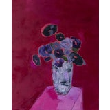 "Image of Bill Tansey "" Mixed Purple / Gray Floral "" Abstract Floral Oil Painting on Canvas, Framed For Sale"