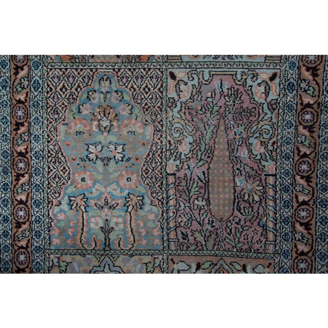 Islamic Persian Pale Blue Field Silk Runner Rug - 2′ × 10′ For Sale - Image 3 of 6