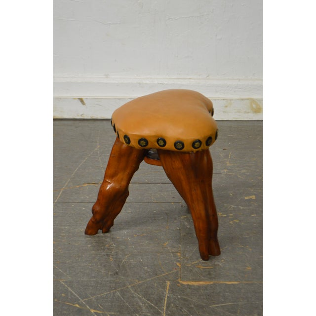 Rustic Cypress Tree Root Leather Seat Small Stool For Sale - Image 3 of 10