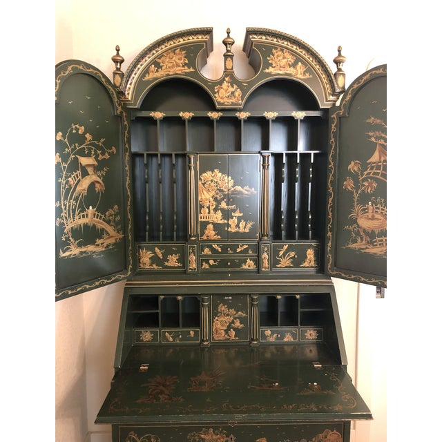 Asian Chinoiserie Emerald Green Color Secretary Cabinet For Sale - Image 3 of 9