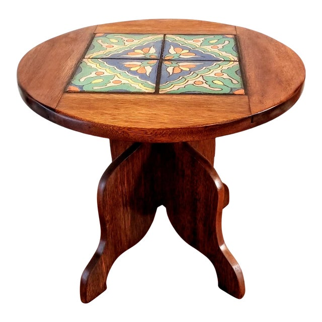 1927-1934 Spanish Cedar Side Table With Hispano-Moresque Tile Top For Sale