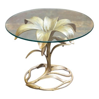 1960's Arthur Court Lily Side Table With Glass Top For Sale