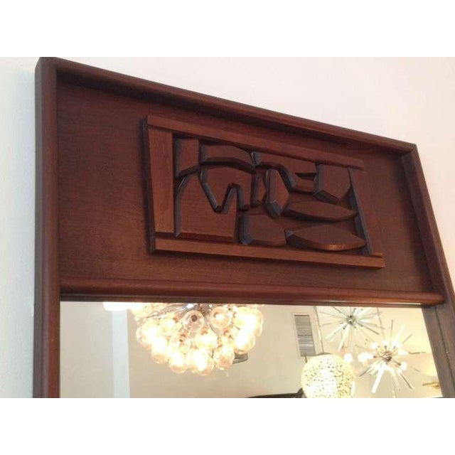 1960s Brutal Carved Mahogany Oversized Mirror For Sale - Image 5 of 5