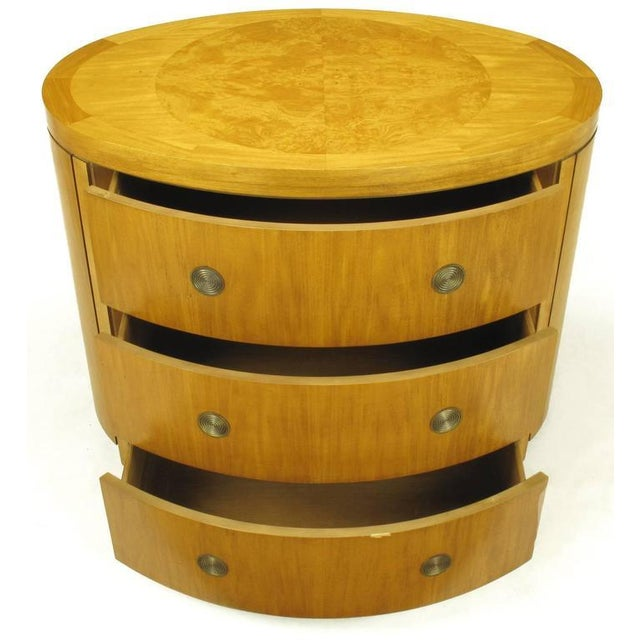 Art Deco Charles Pfister for Baker Prima Vera Mahogany Three-Drawer Oval Commode For Sale - Image 3 of 10