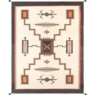 Navajo Style Wool Area Rug - 5′10″ × 8′11″ For Sale