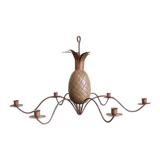French Style Wood Tole Pineapple Candelabra Chandelier For Sale