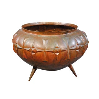 Mexican Hammered Copper Footed Planter Pot