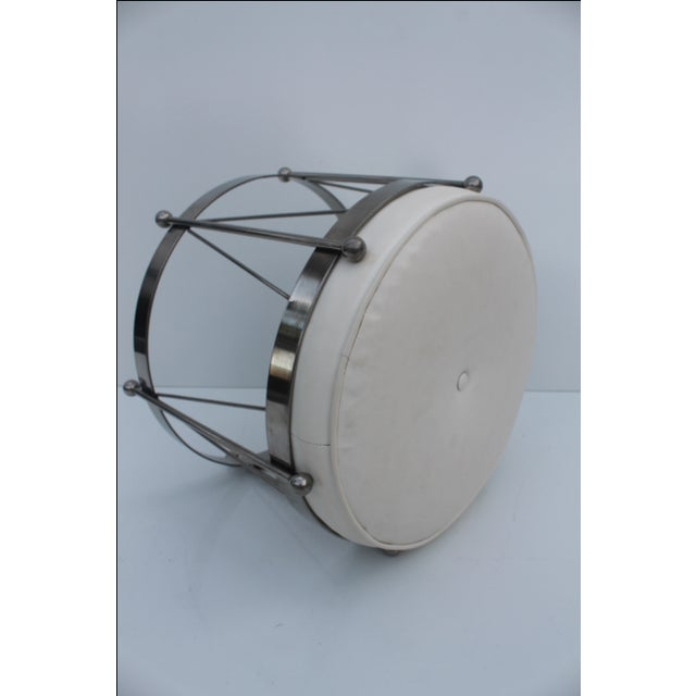 George Koch Mid-Century Vinyl & Chrome Drum Stool For Sale In Miami - Image 6 of 11