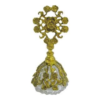 Vintage Gold Floral Filigree Ormolu Glass Perfume Bottle For Sale