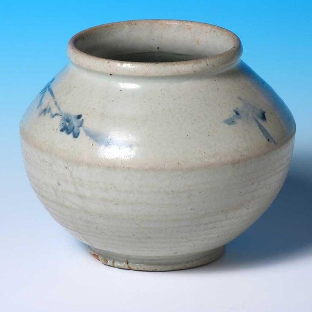 Asian Antique Antique Korean Blue and White Ceramic Storage Jar For Sale - Image 3 of 5