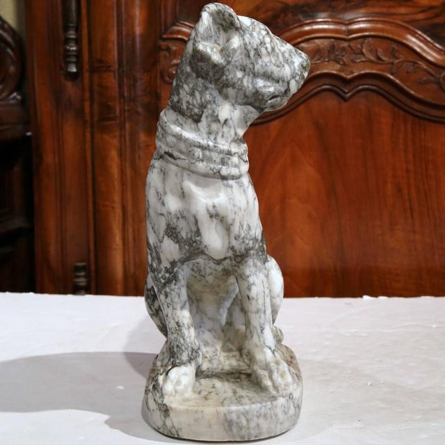 19th Century French Gray & White Marble Dog Figure For Sale - Image 5 of 10