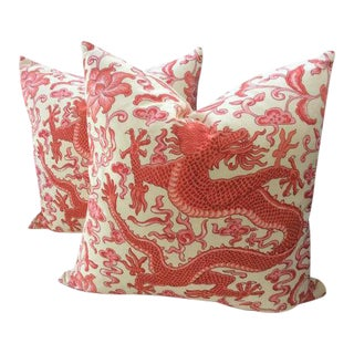 Asian Modern Scalamandre Red Chien Dragon Patterned Pillows - a Pair For Sale
