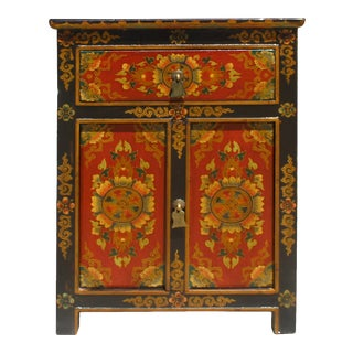 Black Red Yellow Tibetan Style Floral Pattern End Table Nightstand For Sale