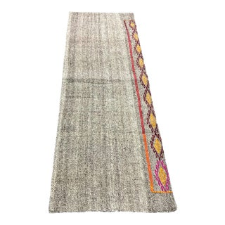 Vintage Turkish Handwoven Aztec Corridor Kilim Rug - 2′3″ × 7′3″ For Sale