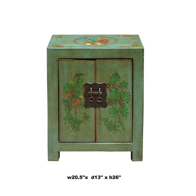 Wood Distressed Grass Green Lacquer Graphic Side End Table Nightstand For Sale - Image 7 of 8