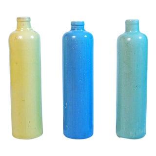 Pastel Ceramic Bottles - Set of 3 For Sale