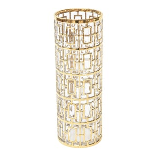 1960s 22 Carat Gold Plated Overlay Over Glass Greek Key Vase Signed For Sale