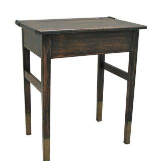 Vintage Industrial Painted Black & Turquoise School Desk For Sale