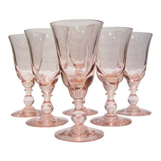 Vintage 1970s Tiffin Franciscan Canterbury II Pink 4-Oz. Cordials - Set of 6 For Sale