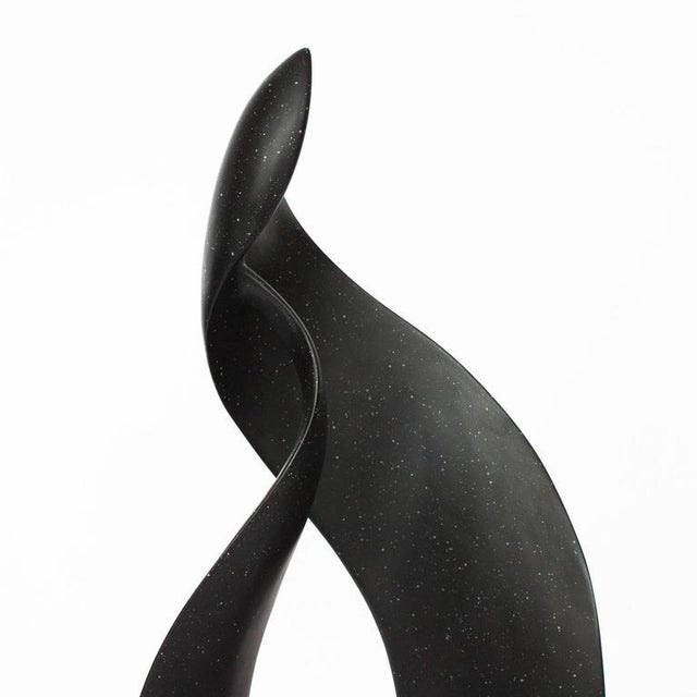 Black Abstract Flame Modernist Sculpture For Sale - Image 10 of 11