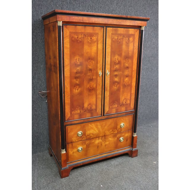French Century French Empire Burl & Ebonized Armoire For Sale - Image 3 of 8