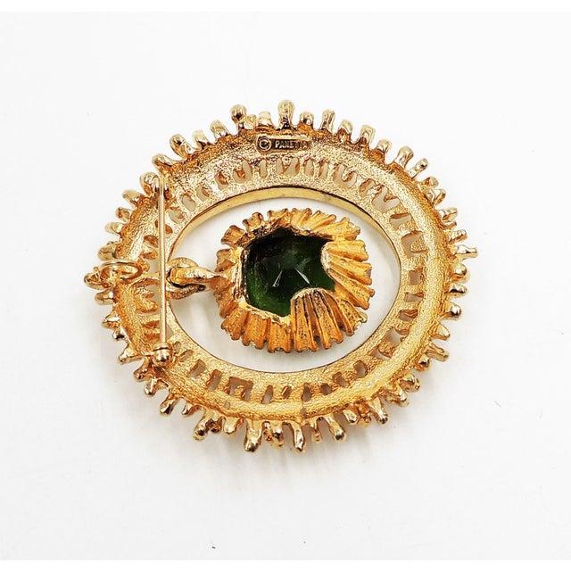 Panetta Faux-Emerald Drop Brooch For Sale In Philadelphia - Image 6 of 8