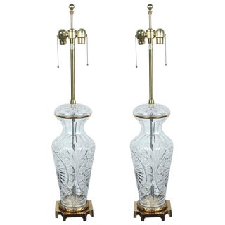 1960s Large Crystal Lamps by Marbro - a Pair For Sale