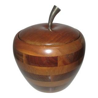 Vintage Walnut Wood Apple Ice Bucket For Sale