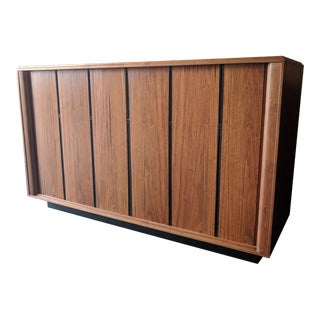 Mid Century Refinished Tambour Door Record/Media Credenza by Barzilay