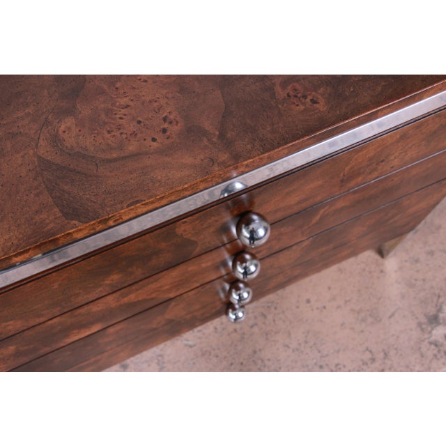 Tomlinson Mid-Century Modern Burl Wood and Chrome Sideboard Credenza, 1970s For Sale - Image 10 of 13
