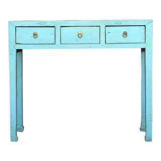 Ming Style Turquoise Asian Console For Sale
