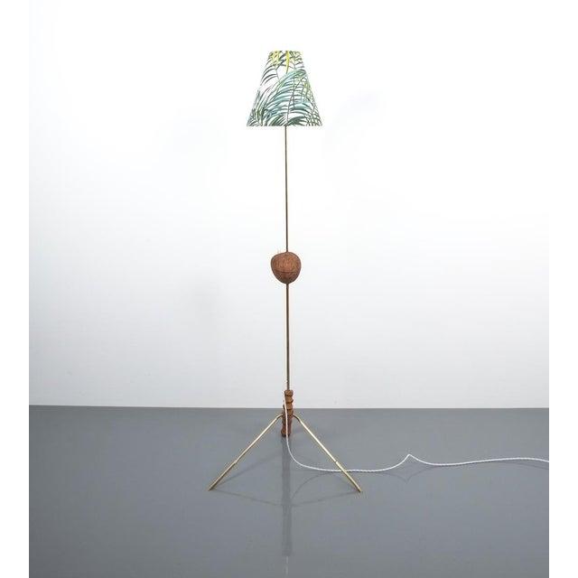 Coconut Brass Bamboo Floor Lamp Attr. Kalmar, Austria 1950 For Sale - Image 6 of 11