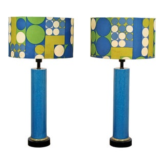 1960s Mid-Century Modern Blue Ceramic Table Lamps with Panton Shades - a Pair For Sale