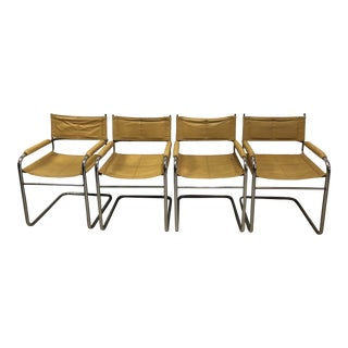 Bauhaus Mustard Leather Arm Chairs - Set of 4