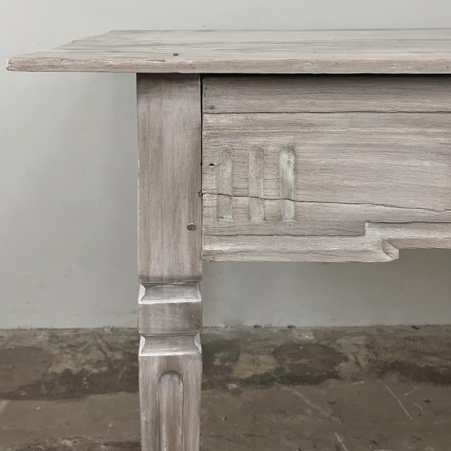 19th Century Country French Louis XVI Whitewashed End Table - Writing Table For Sale - Image 11 of 13