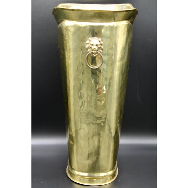 Mid 20th Century Hollywood Regency Style Hammered Brass Cane Holder / Umbrella Stand For Sale - Image 5 of 13