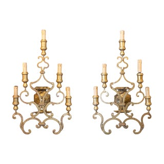Late 19th Century Antique French Gilt Iron Candelabra Sconces - a Pair For Sale