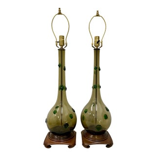 Pair of Mid Century Modern Hand Blown Glass Lamps With Green Prunt Drops For Sale