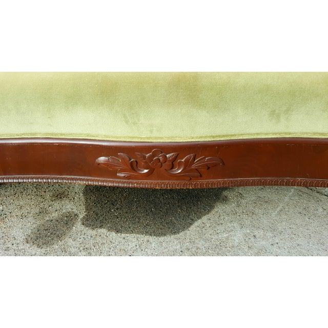 Antique Green Velvet Carved Wood Sofa For Sale In Providence - Image 6 of 7
