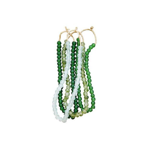 Boho Chic Emerald & Ice Sea Glass Bead Strands - Set of 4 For Sale - Image 3 of 4