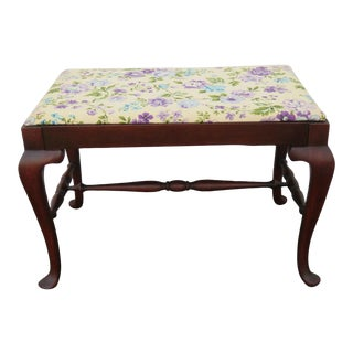 1930s Vintage Queen Anne Style Vanity Stool Bench For Sale