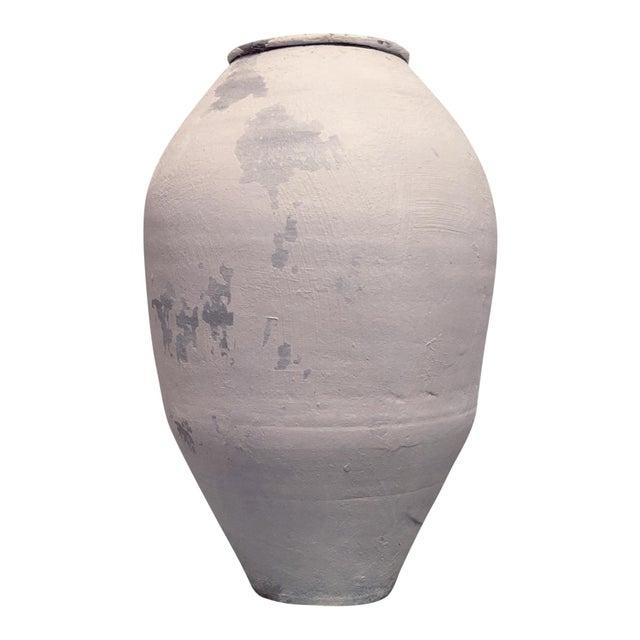French Provincial Antique Whitewashed Terra Cotta Olive Jar For Sale - Image 3 of 9