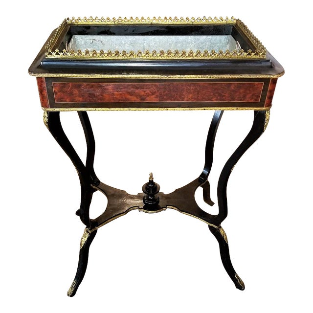 19th Century Napoleon III Ebony and Amboyna Jardinière For Sale