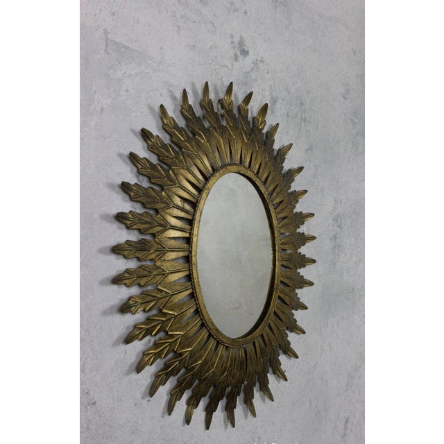 Gilt Metal Oval Sunburst Mirror - Image 4 of 9