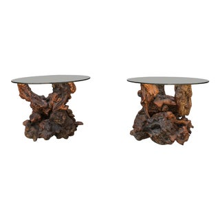 Burlwood Side Tables - A Pair