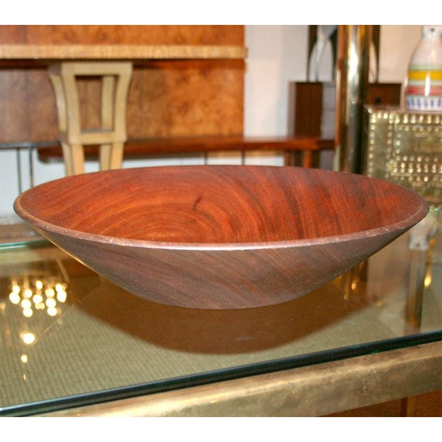 1960s Large Turned Wood Mahogany Bowl by Bob Stocksdale For Sale - Image 5 of 9